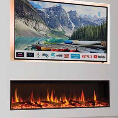 inset woodburner media wall